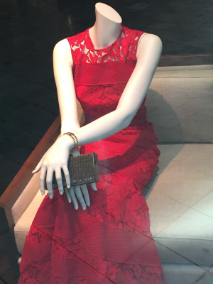Red Dress Seated Mannequin